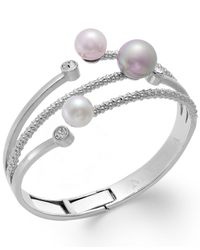 Majorica | Metallic Stainless Steel Imitation Pearl 3-row Bracelet | Lyst