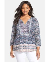 Lucky Brand Purple Floral Print Split Neck Top