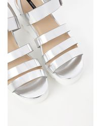 Forever 21 - Metallic Patent Faux Leather Platform Sandal - Lyst