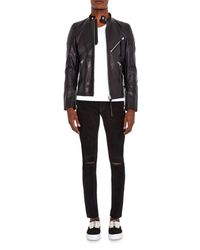 Undercover Black Brushed-Leather Skinny-Fit Trousers for men
