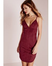 Missguided | Red Suede Strappy Curve Hem Bodycon Dress Burgundy | Lyst