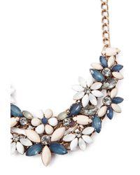 Forever 21 - Blue Faux Gem Flower Necklace - Lyst