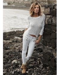 Mango White Asymmetric Openknit Sweater