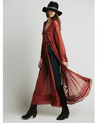 Free People | Womens Fp One Shirred Buttondown Maxi | Lyst