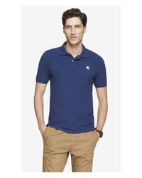 Express Blue Fitted Small Lion Pique Polo for men