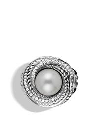 David Yurman | Metallic Pearl Crossover Ring With Diamonds | Lyst