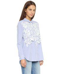 Endless Rose | Blue Lace Placket Button Down Shirt | Lyst