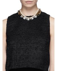 Venna | Metallic Crystal Pavé Strass Station Chain Collar Necklace | Lyst