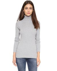 525 America Gray Ribbed Turtleneck Sweater