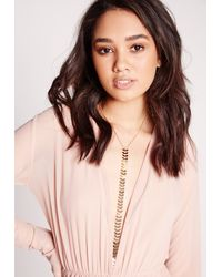 Missguided - Metallic Drop Detail Necklace Gold - Lyst