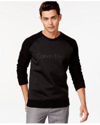 Calvin Klein Black Mixed Media Logo Raglan Pullover for men