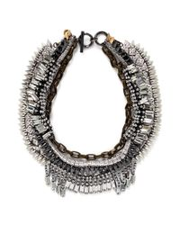 Venna | Metallic Crystal Pavé Spike Chain Collar Necklace | Lyst