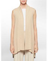 Calvin Klein | Natural White Label Flyaway Front Sweater Vest | Lyst