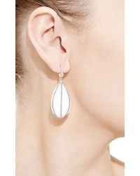 Nina Runsdorf | 18k White Gold Earrings with White Agate and Diamond Pave | Lyst