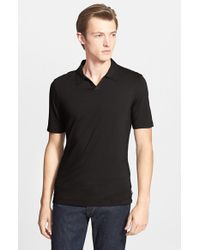 Armani | Black Johnny Collar Polo for Men | Lyst