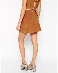 ASOS Brown Button Through A-line Suede Skirt