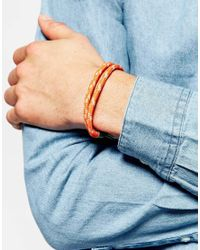 Icon Brand - Orange Line Caught Hook Rope Bracelet Exclusive To Asos for Men - Lyst