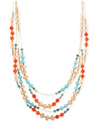 Jones New York - Multicolor Gold-tone Mixed Bead Multi-row Necklace - Lyst