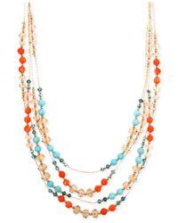 Jones New York - Multicolor Gold-tone Mixed Bead Multi-row Necklace - Lyst