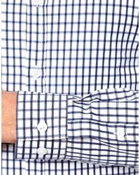 ASOS | White Smart Shirt in Long Sleeve with Grid Check for Men | Lyst