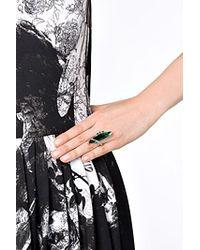 Delfina Delettrez | White , Stone Edge Ring - Green | Lyst