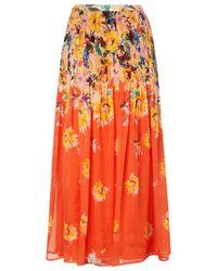 L.K.Bennett Orange Silk Thea Printed Skirt