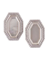 Judith Ripka | White Modern Deco Mother-of-pearl Earrings | Lyst