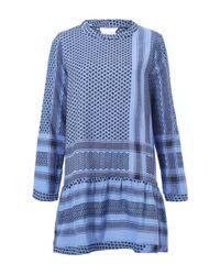Cecilie Copenhagen | Blue Printed Funnel Neck Dress | Lyst