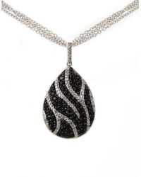 Lord & Taylor | Metallic Black Sapphire And Diamond Necklace In Sterling Silver | Lyst