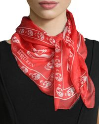 Alexander McQueen - Red Skull-print Silk Chiffon Scarf - Lyst