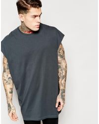 ASOS - Black Super Oversized Sleeveless T-shirt In Grey With Raw Edge for Men - Lyst