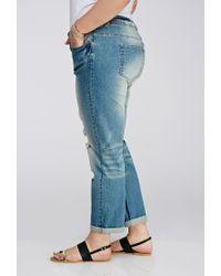 Forever 21 Blue Plus Size Distressed Boyfriend Jeans