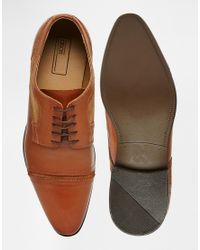 ASOS | Brown Derby Shoes In Tan Leather With Toe Cap for Men | Lyst