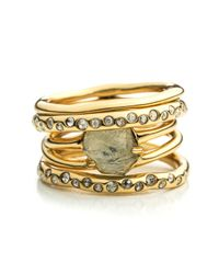 Alexis Bittar - Metallic Kinetic Gold Rotating Stack Ring - Lyst