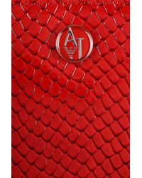 Armani Jeans - Red Wallet With Strap In Reptile Print Faux Patent Leather - Lyst
