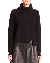 Proenza Schouler - Black Front-slit Turtleneck Sweater - Lyst