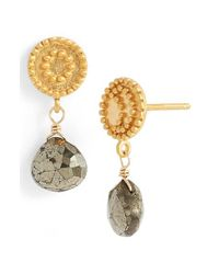 Satya Jewelry | Metallic 'celestial' Pyrite Drop Earrings - Pyrite | Lyst