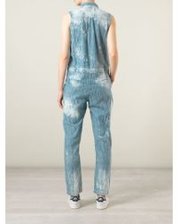 Sea - Blue Stripped Blotchy Denim Jumpsuit - Lyst