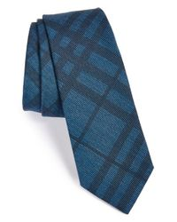 Burberry - Blue 'rohan' Woven Silk & Cotton Tie for Men - Lyst