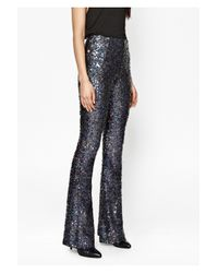 French Connection - Gray Lunar Sparkle Sequin Flares - Lyst