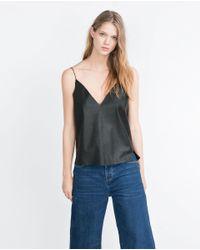 Zara | Black Top With Straps | Lyst