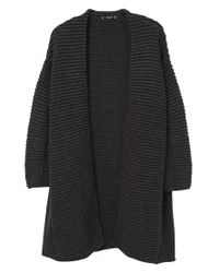 Mango Black Textured Open Front Cardigan
