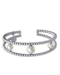 Majorica White Two Row Silvertone Bead And Pearl Cuff Bracelet