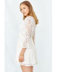 Kimchi Blue - White Lace Surplice-front Dress - Lyst