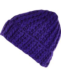 River Island | Purple Chunky Knit Beanie Hat for Men | Lyst