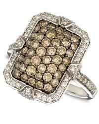 Le Vian - Metallic Diamond White And Chocolate Diamond Rectangle Ring (1-3/8 Ct.T.W.) In 14K White Gold - Lyst