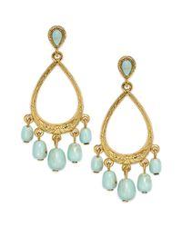 Lauren by Ralph Lauren | Blue Goldtone Multi Bead Gypsy Hoop Clipon Earrings | Lyst