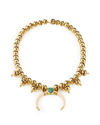 Aurelie Bidermann | Metallic 18kt Gold Plated Necklace With Turquoise And Horn | Lyst