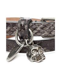 Alexander McQueen Metallic Double Wrap Skull Bracelet for men