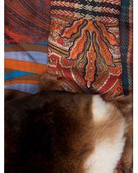 Pierre Louis Mascia Red Mixed Print Fur Scarf